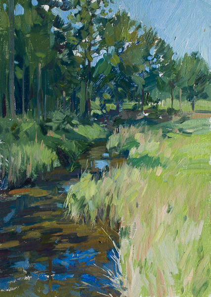 Plein air painting of a creek off of the Toogoodoo.