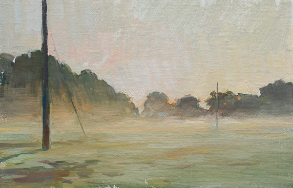 Plein air landscape painting of mist rising on a farm in South Carolina.