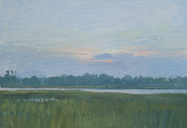 Plein air painting of dawn in a Marsh in the Lowcountry, South Carolina.