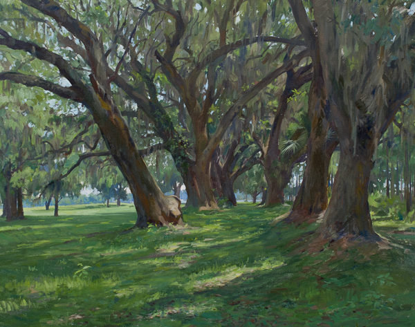 Large painting of an abandoned oak alley in South Carolina.
