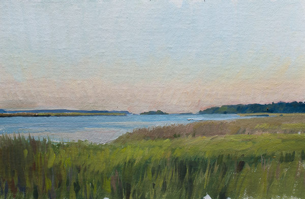 Plein air painting of dawn on the Toogoodoo Creek.