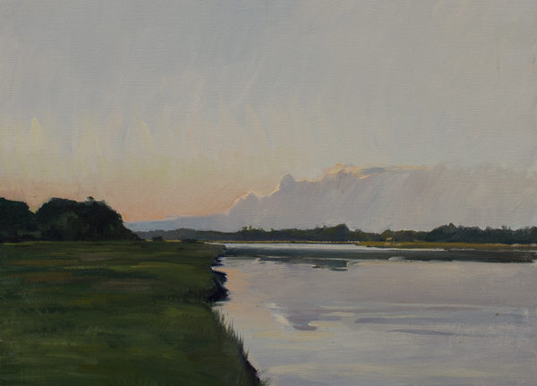 Plein air painting of twilight on the Toogoodoo Creek, Hollywood, South Carolina.
