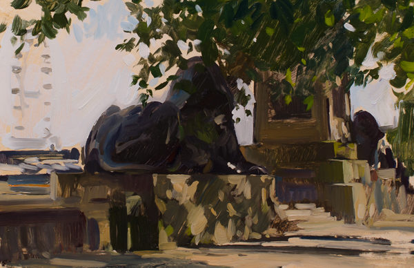 Plein air painting of Cleopatra's Needle in London.