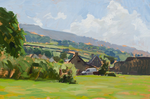 Plein air painting of Tretower in Wales.