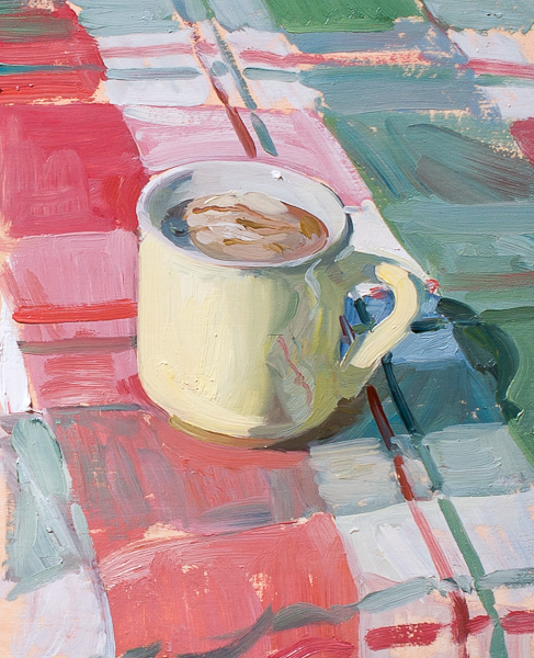 Plein air painting of an espresso with a scoop of vanilla ice cream.