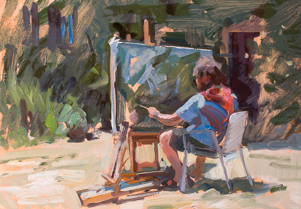 Plein air painting of a painter in Tuscany.