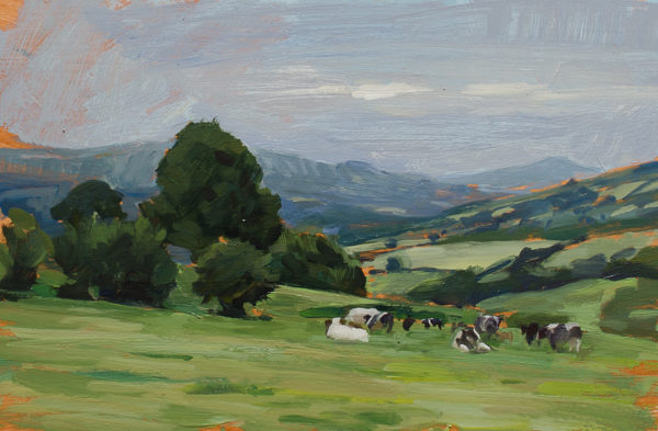 Painting of cows in the Brecon Beacons National Park, Wales.