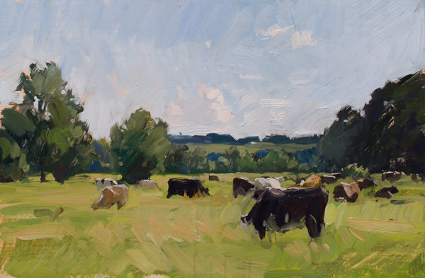Plein air painting of cows in Lower Woodford.
