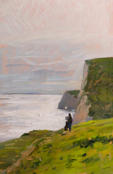 Plein air painting of a painter on the cliffs in Dorset.