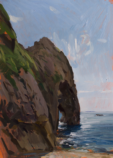 Plein air painting of the Durdle Door in Dorset.