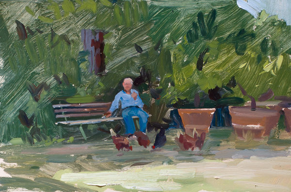 Plein air portrait of a Tuscan farmer with his chickens.