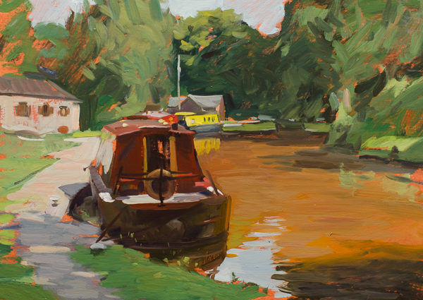 Plein air painting of Narrowboats on the Monmouthshire and Brecon Canal