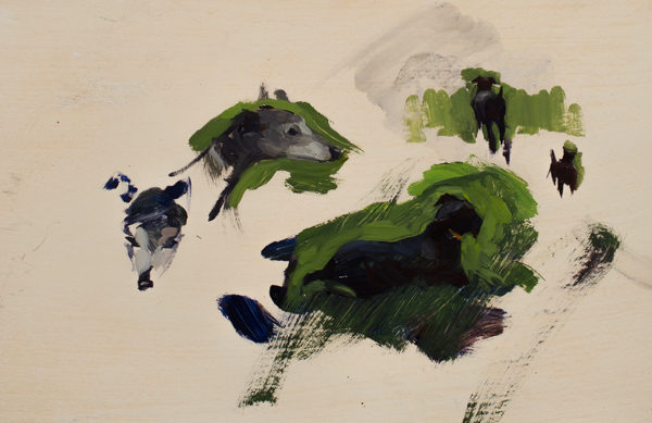 Painting studies of a Patterdale and Whippet