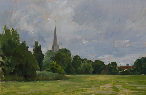 Plein air painting of Salisbury Cathedral.