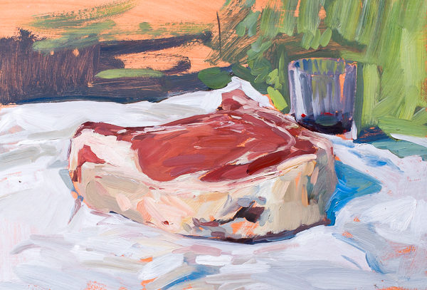 Plein air painting of a Florentine steak.