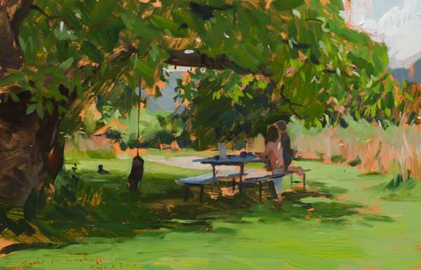 Plein air painting of children playing under a tree.