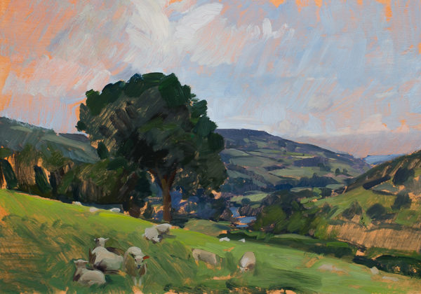Plein air painting of sheep in Wales.