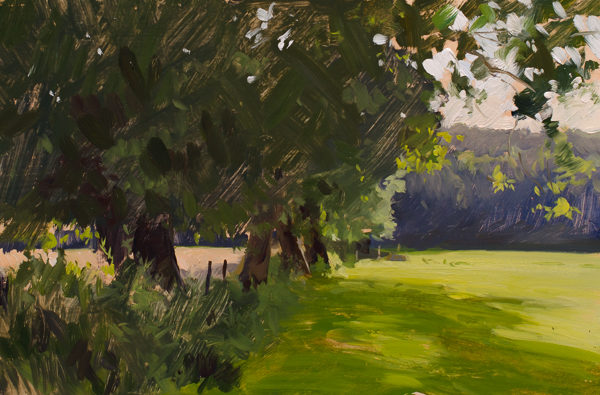 Plein air painting of fields in Wiltshire.
