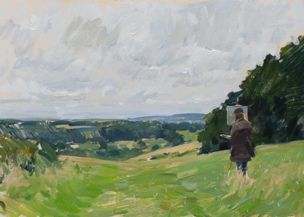 Plein air painting of a painter in the Woodford valley in Wiltshire.