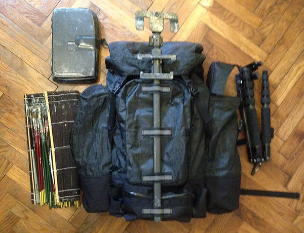 Photo of a custom-made cuben fiber backpack for plein air painting.