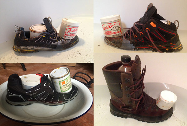Testing the waterproofness of Meindl and La Sportiva shoes and boots.