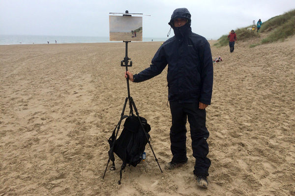 Plein air painting in the rain on Curracloe Beach, Wexford.
