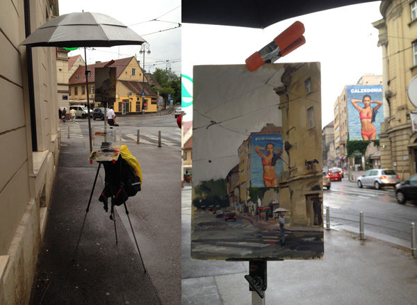 Photo of a plein air painting umbrella blocking too much light.