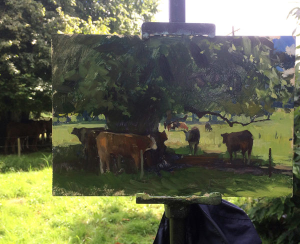 Plein air painting of Irish cows.