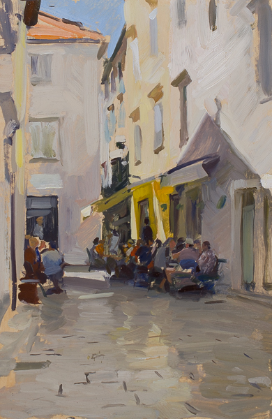 Plein air painting of a cafe in Zadar, Croatia.