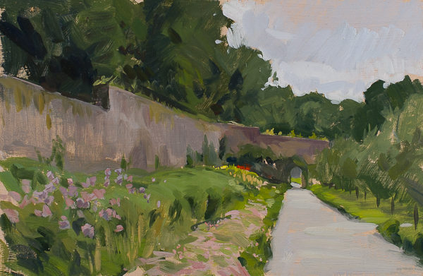 Plein air painting of Colclough Walled Gardens near Tintern Abbey, Ireland.