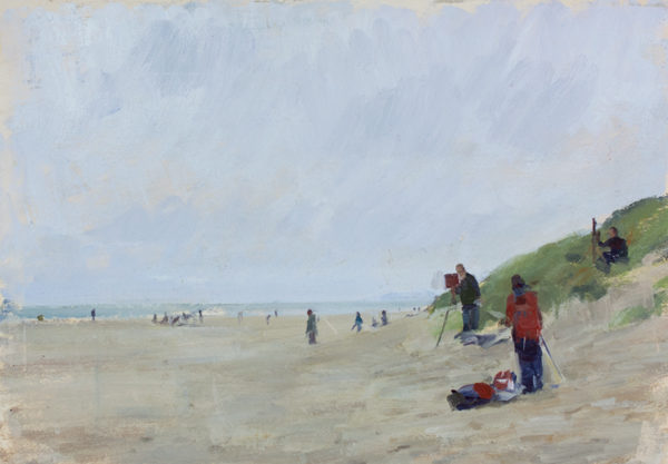 Plein air painting of Curracloe Beach, Wexford.