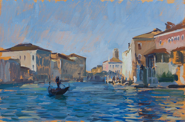 Plein air painting of the Grand Canal from the Accademia in Venice, Italy.