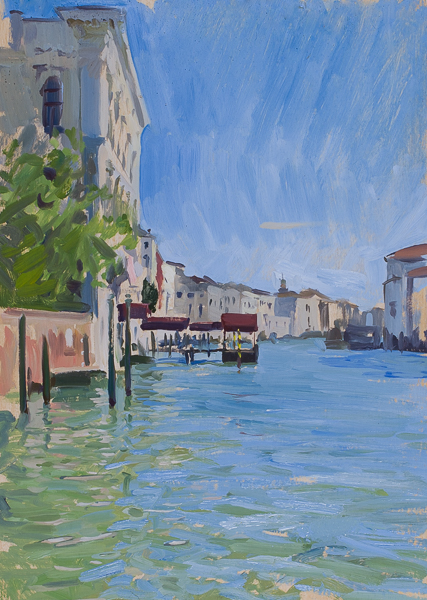 Plein air landscape painting of the Grand Canal in Venice.