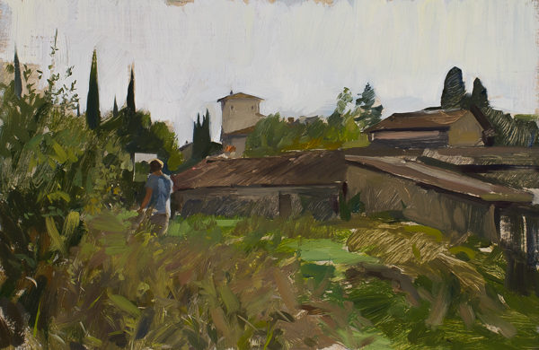 Plein air painting of Jory Glazner painting near Vicchio di Rimaggio.