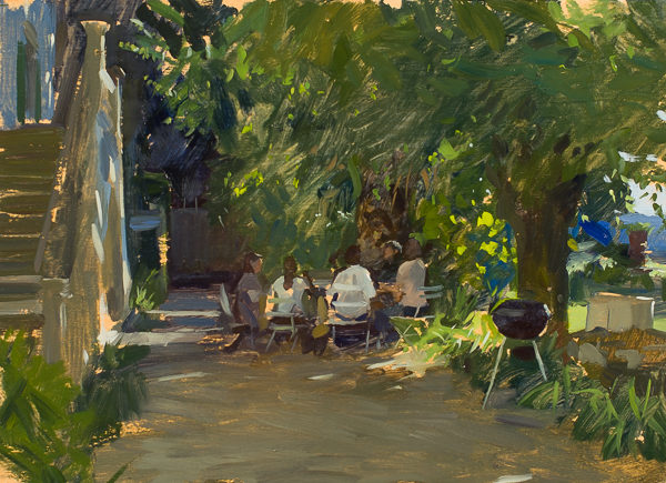 Plein air painting of a garden scene above Florence, Italy.