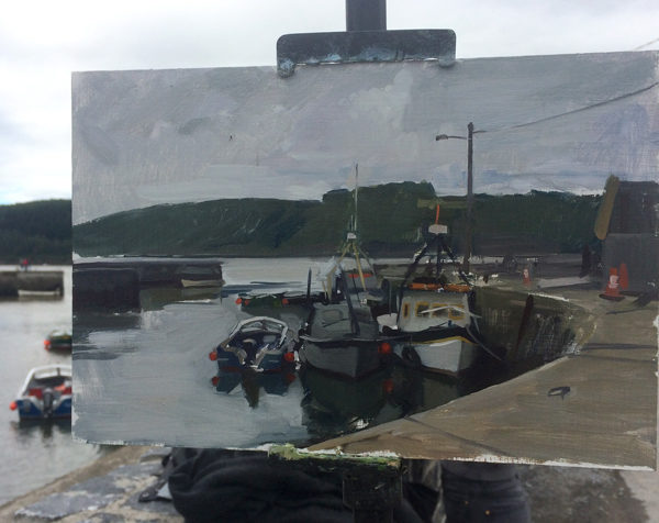Plein air painting of boats at Passage East, Ireland.