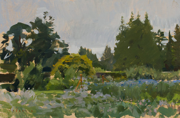 Plein air painting of the Walled Gardens at Woodstock Arboretum near Inistioge, Ireland.