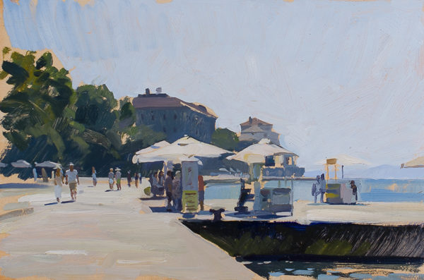 Plein air painting of the Riva in Zadar, Croatia.