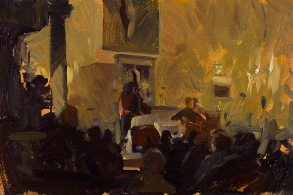 Oil painting of a classical concert in the church of San Lorenzo a Vicchio di Rimaggio.