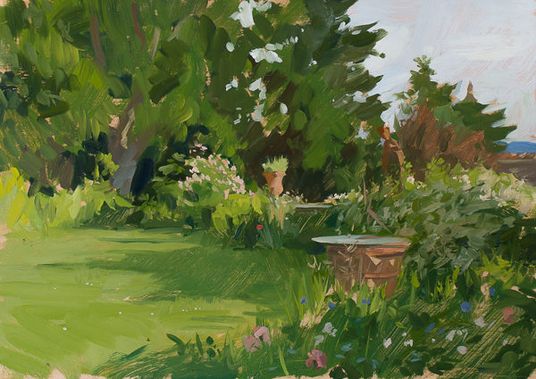 Plein air painting of the garden at Villa Schneiderf, Vicchio di Rimaggio.