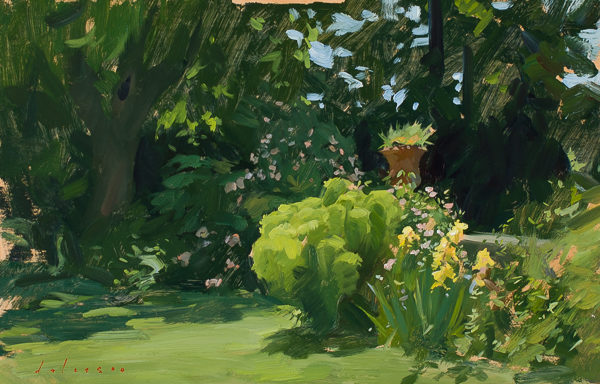 Plein air painting of a corner of the garden at Villa Schneiderf.