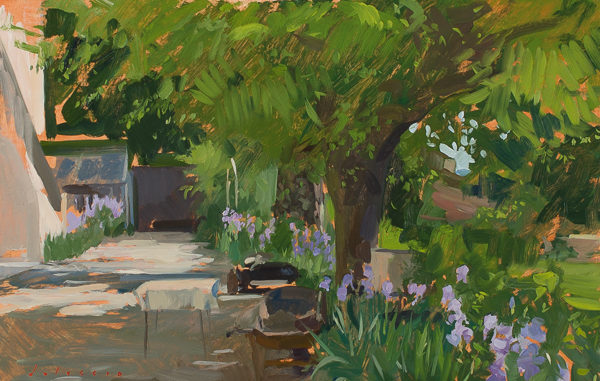 Plein air painting of irises in bloom in the garden at Villa Schneiderf.