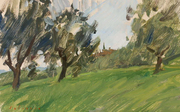 Plein air painting of an olive grove in the Arno river valley.