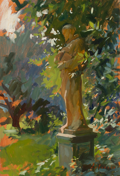Oil painting of a terracotta statue in the garden.