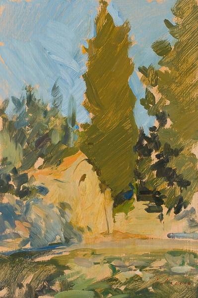 Plein air painting of sunset in Vicchio di Rimaggio.