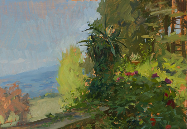 Plein air painting of a garden urn.