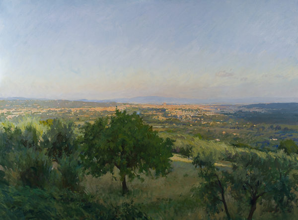 Plein air landscape painting of dawn over Florence, Italy.