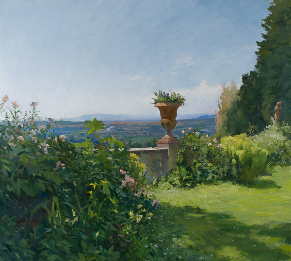 Plein air landscape painting of the garden at Villa Schneiderf.