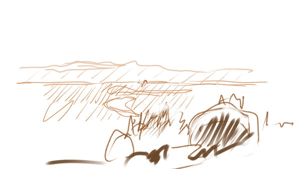Image of a landscape drawing in Autodesk Sketchbook.