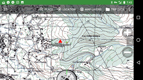 Istituto Geografico Militare map on BackCountry Navigator app for Android.